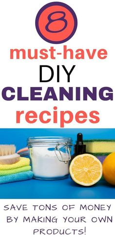 Have vinegar and baking soda laying around? Try these 8 simple diy cleaning recipes. You will save tons of money by making your own cleaning products and your home will be healthier in the process by eliminating all of the toxins found in store-bought cleaning products.