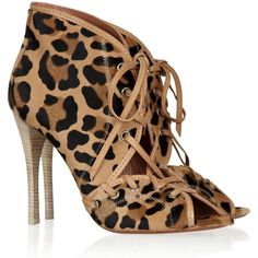 Alaïa Leopard-print calf hair ankle boots (£1,025) ❤ liked on Polyvore featuring shoes, boots, ankle booties, heels, sapatos, scarpe, high heel ankle boots, high heel bootie, tan lace up booties and ankle boots