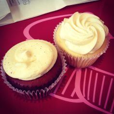 The Cupcake Queens (Moonee Ponds): Red Sparkle and Vanilla Vanilla.