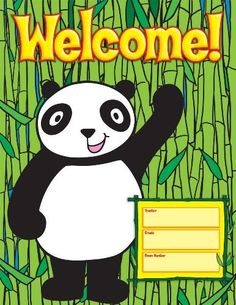 You get 10 copies of this inviting chart. Welcome your students to class with the theme of pandas! Reproducible pages on the back of the chart. each chart: x School Welcome Bulletin Boards, Classroom Welcome, Teacher Classroom Decorations, Classroom Displays, Classroom Themes, Space Classroom, Classroom Rules, Classroom Board, Future Classroom