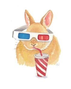 Bunny Rabbit Painting Watercolour Painting - Rabbit Watercolour, 3D Glasses, Movies. $40.00, via Etsy.
