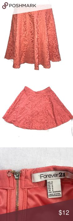 """Small Forever 21 Lacy Skirt ▪️12.5"""" laying flat across waist  ▪️zippered ▪️underskirt with lace skirt overlay ▪️18"""" waist to bottom Forever 21 Skirts"""