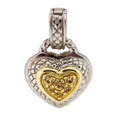 """Judith Ripka Yellow Sapphire Heart Enhancer 14K Judith Ripka Yellow Sapphire Heart Enhancer.  Sterling Silver and 14K yellow gold.  Measurements are Length 0.75"""", Width 0.75. Very Good condition.  Faint markings throughout surface. Judith Ripka Jewelry"""