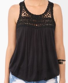 Forever 21 is the authority on fashion & the go-to retailer for the latest trends, styles & the hottest deals. Shop dresses, tops, tees, leggings & more! Crochet Yoke, Crochet Fabric, Crochet Blouse, Crochet Summer Dresses, Summer Dress Patterns, Sewing Clothes, Crochet Clothes, Boho Fashion, Fashion Outfits