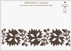 Semne Cusute: Romanian traditional motifs - MOLDOVA - Neamt, Han... Folk Embroidery, Embroidery Patterns, Romanian Women, Popular Costumes, Moldova, Hama Beads, Beading Patterns, Pixel Art, Cross Stitch