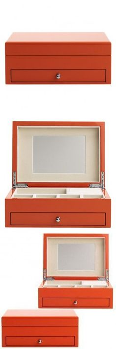 Reed & Barton 950ORG High Gloss Finish Jewelry Box, 9-1/2-Inch Length by 6-3/4-Inch Width by 3-3/4-Inch Height, Citrus Orange