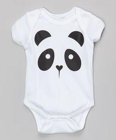 White Kawaii Panda Face Bodysuit - Infant