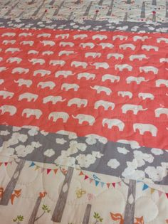Baby Quilt ModernOrganicWoodland PartyElephant Mod by CoolSpool