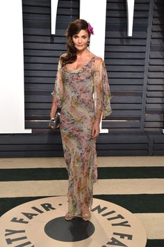 Helena Christensen in Valentino attends the 2017 Vanity Fair Oscar Party hosted by Graydon Carter.