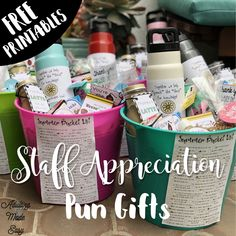 Staff Appreciation Pun Gifts with FREE PRINTABLES - Adulting Made Easy