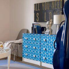 Bright Blue Stenciled Dresser