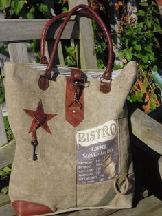 Vintage Canvas Bag - Shopping Bag Bistro http://www.homesweethome-decorations.de/shop/Vintage-Canvas-Bags/