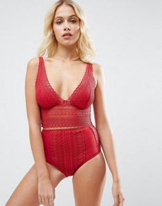 ASOS Viola Linear Lace Molded Triangle Set in Red