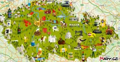 Highly detailed map of Czechia Country Maps, Clash Of Clans, Czech Republic, Places To Visit, Around The Worlds, Island, Painting, Printables, Education