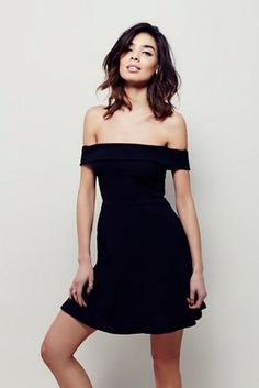 Corrine Mini Dress | Free People Fit-and-flare mini dress featuring ribbed texture and off-the-shoulder silhouette.