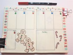 Christmas Bullet Journal page layouts for December. Calendar, weekly spreads, habit and mood trackers, present tracking, and more. December Bullet Journal, Bullet Journal Spread, Bullet Journal Layout, Bullet Journal Inspiration, Bullet Journals, Journal Pages, Journal Ideas, Bullet Journal Mental Health, Gingerbread Men