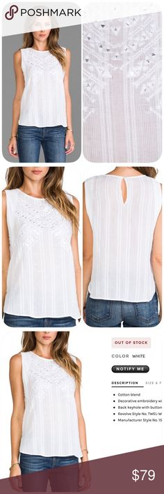 Cynthia Vincent Embroidered Mirror Tank Fantastic summer top with jeans for casual wear or Blazer for the office Cotton blend Decorative embroidery with mirrored disc accents Back keyhole with button closure More photos of actual top for sale to come. EUC Twelfth Street by Cynthia Vincent Tops