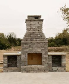 "DIY Outdoor Fireplace Kit ""Fremont"" makes hardscaping cheap and easy! Build Outdoor Fireplace, Diy Fireplace, Deck Seating, Airstone, Bait And Switch, Backyard Makeover, Wood Pallets, Hearth, Outdoor Living"