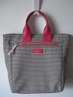 KATE SPADE COBBLE HILL FABRIC HAYLEY STRIPE PINK TOTE CONVERTIBLE BAG NWT $388