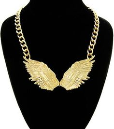 Gold Wings Style Statement Necklace Chain Trendy Cute Angel Love HipHop Fashion