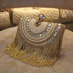 New Women Diamond Wedding bride Shoulder Crossbody Bags Gold Clutch Beaded  Tassel Evening Bags Party Purse banquet Handbags Li29 9c41993114b8
