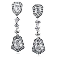 Bullet Cut Diamond Dangle Earrings 1 1/2 Carat (ctw) in 14k White Gold