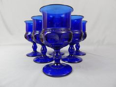 Set of 6 Vintage Cobalt Blue Glass Goblets, Barware, Wedding, Kings Crown, Thumbprint, Excellent Condition. by SlyfieldandSime on Etsy