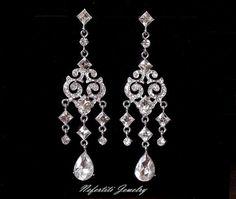 nefertitijewelry2009  Vintage Style Bridal Chandelier Earrings, Crystal Chandelier Wedding Earrings,Bridal jewelry, long bridal earings, Swarovski wedding earings     US$46.00