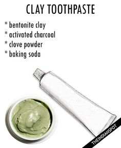 CLAY TOOTHPASTE: Things you need: You need 4 tablespoons bentonite clay, ¾ teaspoons activated charcoal, ½ teaspoon clove powder and 1 teaspoon baking soda. Method: Using a stainless steel or plastic spoon, mix all ingredients in a clean glass jar. To use, add a little to a wet toothbrush and brush as normal. COCONUT … Charcoal Toothpaste, Natural Toothpaste, Diy Soaps, Plastic Spoons, Bentonite Clay, Activated Charcoal, Diy Face Mask, Lotions, Glass Jars