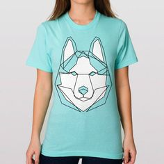 This Give A Fluff geometric line-drawn husky design is printed on a light aqua t-shirt. Specs: 100% ringspun fine jersey cotton Fashion fit