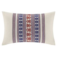 Cotton pillow with weaving-inspired embroidery.   Product: Lumbar pillowConstruction Material: 100% Cotton faux ...