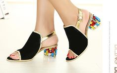 Find More Pumps Information about Free shipping  women's Color Rhinestone Thick Heel Diamond fish head Sandals female Sexy comfortable suede fish head shoes,High Quality fish head shoes,China head shoes Suppliers, Cheap head over heels shoes from Cylong International Company Ltd's store on Aliexpress.com