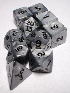 Polyhedral Dice Set (10-Piece), Olympic Silver Koplow Games https://www.amazon.com/dp/B002WJEJCW/ref=cm_sw_r_pi_dp_hrDCxbGXWWR4R