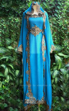 Moroccan Sky Blue and Gold Hooded Caftan - It looks almost Elvish! :)