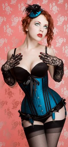 Blue and black lace Corset.. i want this exact corset but in Red for Ophelia Peters!!! LOVE THE SHAPE!!!
