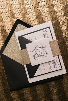 DIANE Suite Glitter Package, black and gold, modern wedding invitations, formal, black tie, elegant, letterpress, gold glitter envelope liner