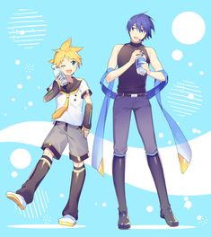 Len and Kaito Vocaloid Kaito, Kaito Shion, Anime Neko, Anime Art, Blue Hair Anime Boy, Manhwa, Fan Art, Gallery, Drawings