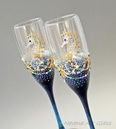 BEACH champagne flutes  Beach Wedding Glasses Champagne