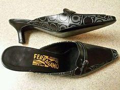 #SalvatoreFerragamo Black Heels Mules 6.5 Logo Embossed Leather Florence Italy