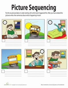 This picture story is all mixed up! Use this worksheet to teach your student how to put plot events in order.