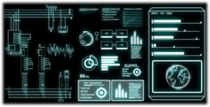 A bunch of animated sci-fi interface elements