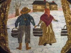 Rug Hooking Pattern on Linen Joseph Maple by VintageHeartPrims, $55.00