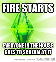 so true. most of the time though, one of my sims catch on fire so I have every one blow it out. they stop after like a second and start screaming at it again. then the sim on fire is either saved by the firefighters or dies. luckily, every sim I've ever had that died from a fire was saved by another sim. :D