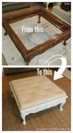Coffee Table turned Ottoman before and after -- #upholstery #upcycling #HomeDecor