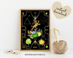 LEO Astrology Wall Art, Horoscope Cards, Zodiac Print, Tarot Cards, Star Sign, Digital Download, Astrology Print,Printable,Constellation
