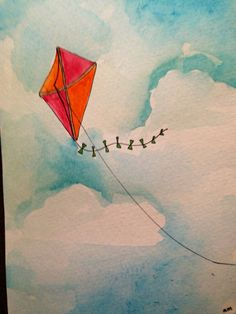 5x7 print of kite watercolor and ink painting on Etsy, $10.00