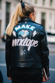 How to paint your leather jacket Adidas Jacket, Bomber Jacket, London Fashion, Leather Jacket, Street Style, Style Inspiration, Photo And Video, Jackets, Photography