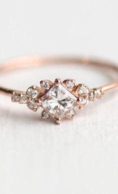 Stargaze Ring // Princess Cut White Diamond Symmetrical Cluster Ring