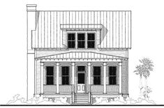 House Plan 73733 - Historic , Southern , House Plan with 2138 Sq Ft, 4 Bed, 4 Bath Small Cottage House Plans, Cottage Floor Plans, Beach House Plans, Southern House Plans, Country House Plans, Southern Homes, Cottage Homes, Southern Style, Country Homes