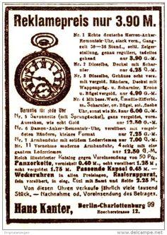 Original-Werbung/ Anzeige 1925 - UHREN / HANS KANTER - BERLIN - CHARLOTTENBURG…